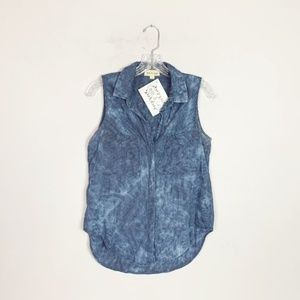 Anthropologie | stone washed button up blouse S